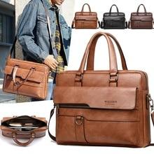 Retro Men Solid Color Bag Faux Leather Briefcase Large Capac