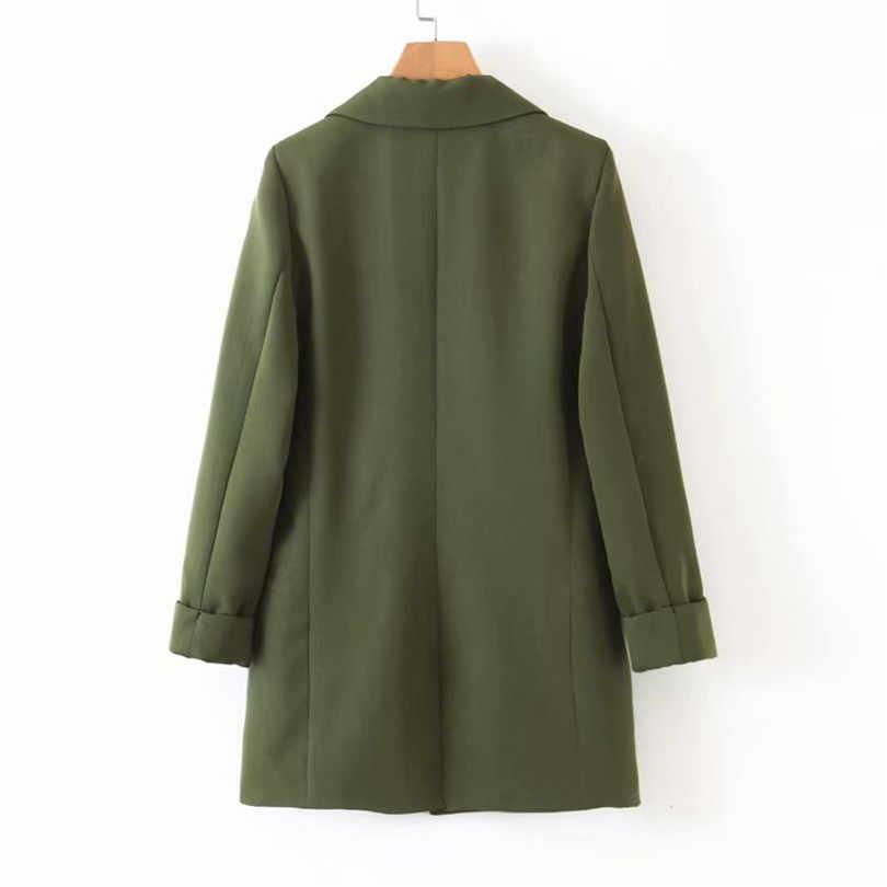 נשים שיק צבא ירוק בלייזר כיסי טור כפתורים כפול שלוש רבעון שרוול משרד ללבוש מעיל נשי מזדמן הלבשה עליונה חולצות