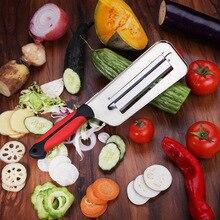 Rebanador de verduras con doble hoja de 2 rebanadas cuchillo limpiador de escamas de pescado cuchillos Col zanahoria pepino cebolla rebanador pelador
