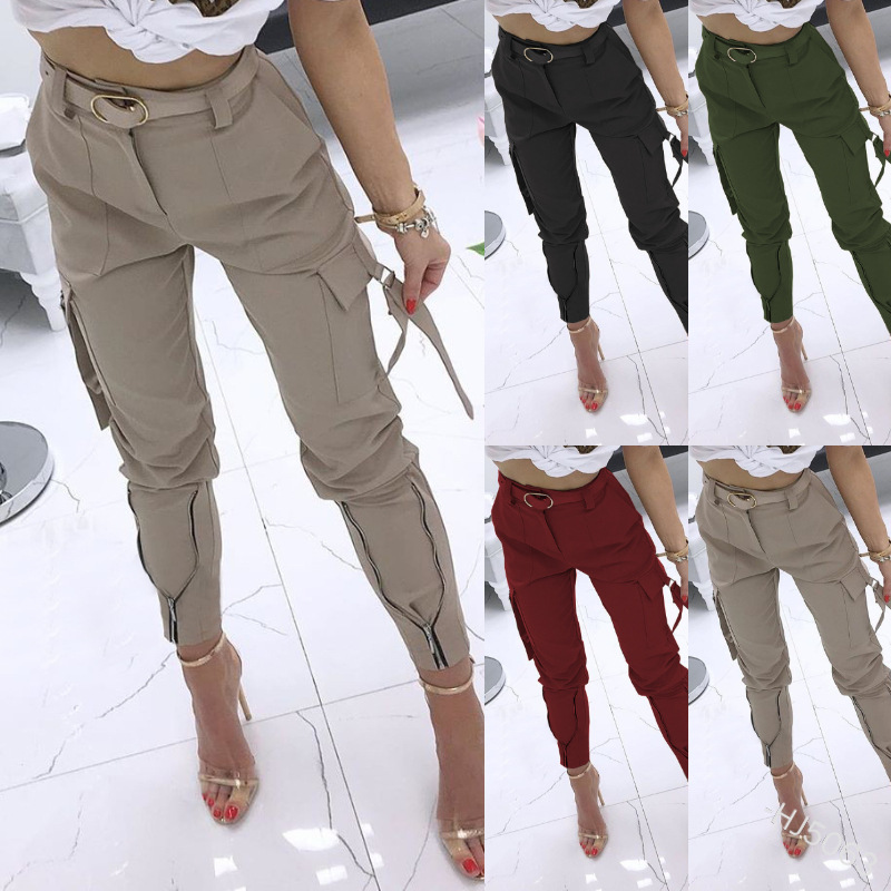 WEPBEL Women Casual Pencil Pants Women's Pants Solid Color Ankle Length Trousers Summer New