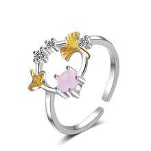 KOFSAC Romantic 925 Sterling Silver Ring Women Anniversary Fashion Jewelry Cute Zircon Gold Ginkgo Biloba Party Accessories