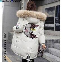 2019 moda zimowy płaszcz z kapturem dół kurtki kobiety gruby ciepły haft damska kurtka zimowa wiatroszczelna aplikacja Parka