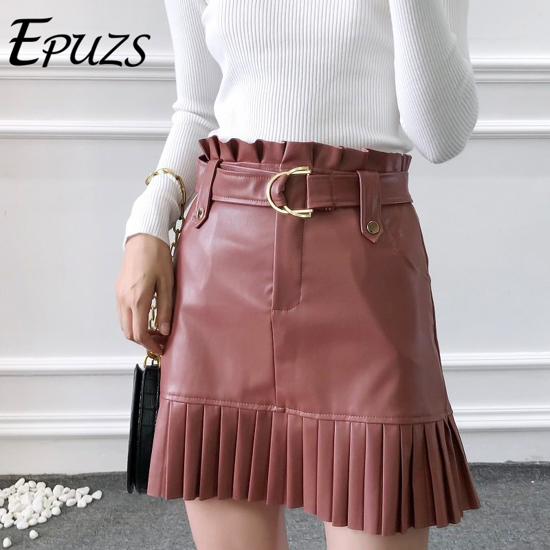 Sexy Black Pu Leather Skirt Women High Waist Skirts Womens Mini Skirt Kawaii With Belt Chic Ruffled Skirt Korean Winter Skirt