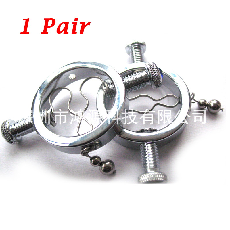 2pcs Stainless Steel Round Non Piercing Nipple Clamps Breast Clips Ring Vagina Stimulator Slave Restraints Adult Game For Women