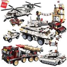 Qman – blocs de construction éducatifs militaires, char de guerre, Panzer, hélicoptère, voiture, véhicule, arme, une Force, jouet pour enfants