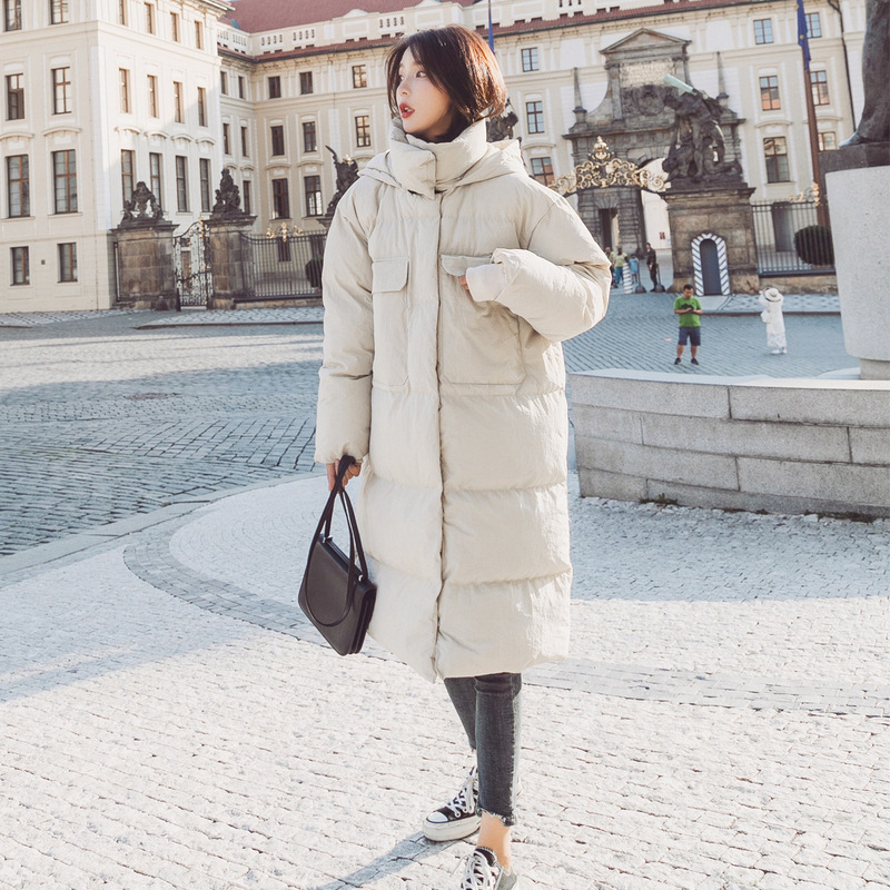 Photo Shoot 2018 Winter New Style Korean-style Loose-Fit Two-color Long Over-the-Knee Hooded Cotton-padded Clothes Down Coat Wom