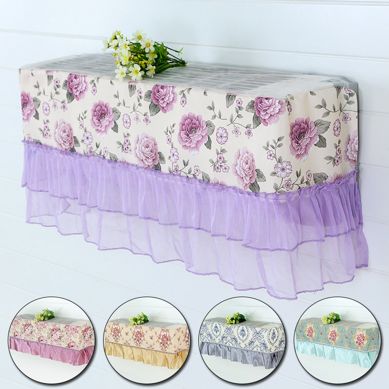 Enthusiastic Lace Air Conditioner Cloth Dustproof Cover Wedding Decoration Wall Mounted Air Conditioning Flower Pattern Home Dust Covers High Quality Materials