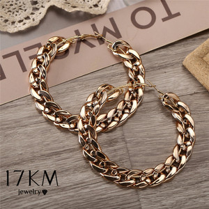 17KM Gold Chain Oversize Big Hoop Earrings for Women Girl 2020 Bijoux Giant Geometric Circle Round Earring Fashion Punk Jewelry