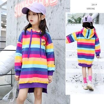 Teenage Kids Sweatshirt Autumn Rainbow Striped Hoodie