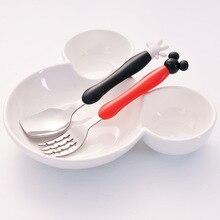 Mickey Minnie Fork Spoon Dinnerware Set Kids Tableware Set Baby Stainless Steel Fork Spoon pink cutlery kawaii kit
