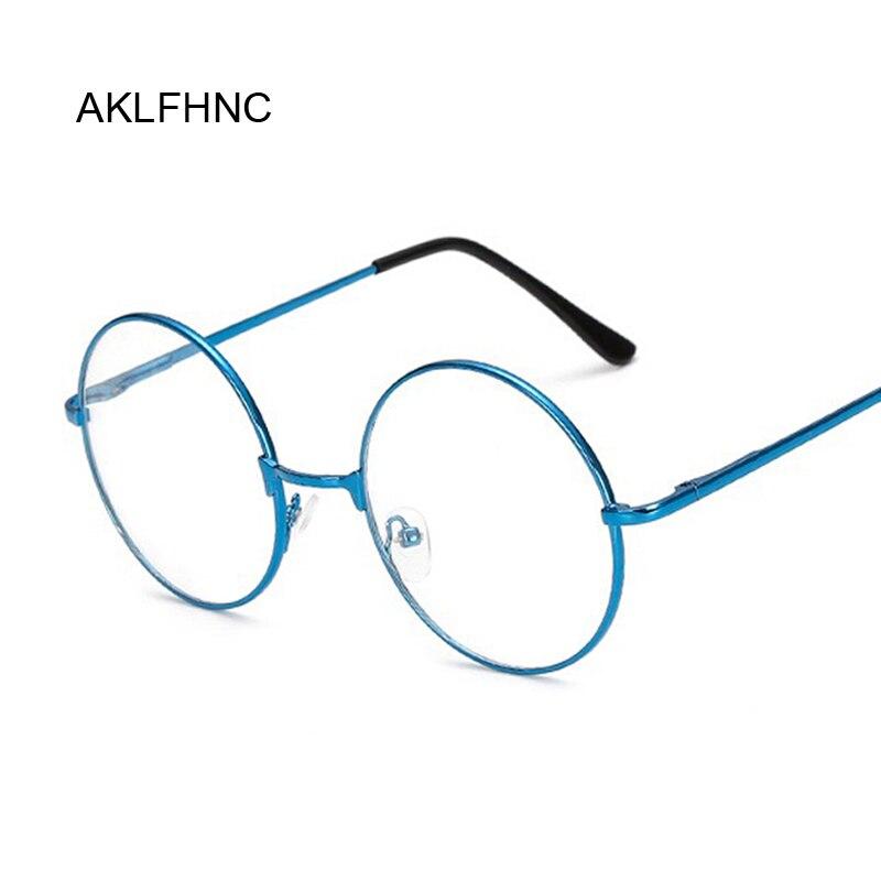 Fashion Blue Clear Glasses Frame For Women Men Vintage Round Eye Glasses Female Male Plastic Transparent Optical Glasses Frames