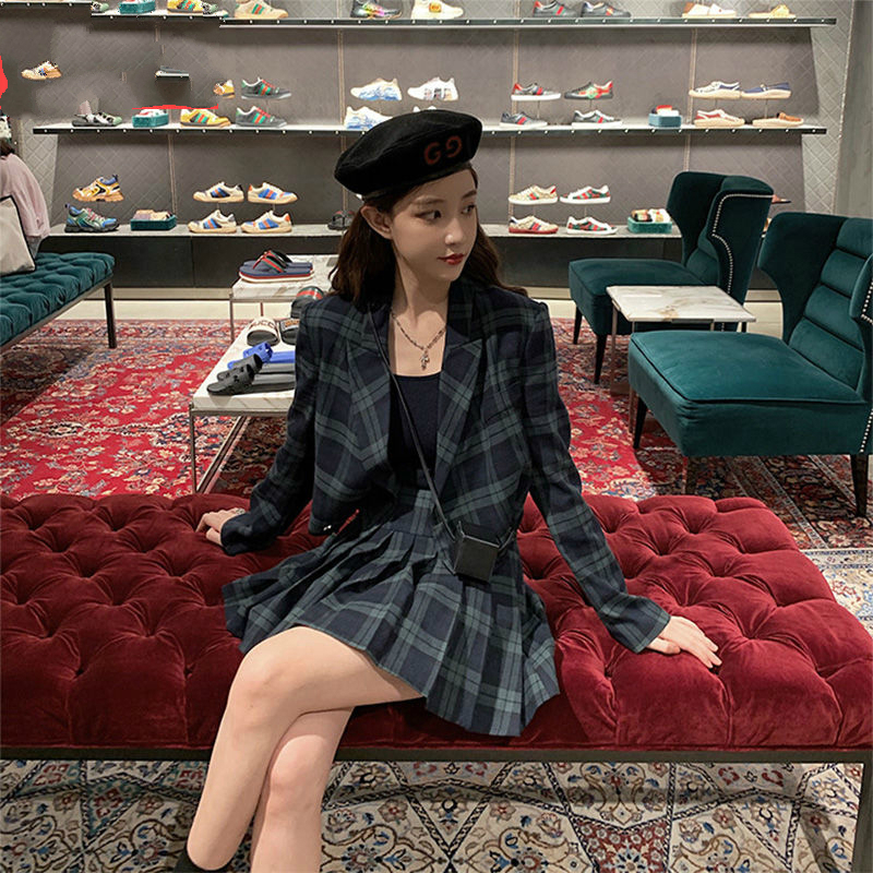 Vintage Women Set Blazer & Short Skirt Suits 2 Pieces Preppy Setyle Love Sleeve Plaid Jacket Suits Streetwear Femme Blazer Suit