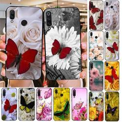 Чехол для телефона YNDFCNB, чехол с красной бабочкой и белыми розами, с черным цветком для Redmi note 8Pro, 8T, 6Pro, 6A, 9, Redmi 8, 7, 7A, note 5, 5A, note 7