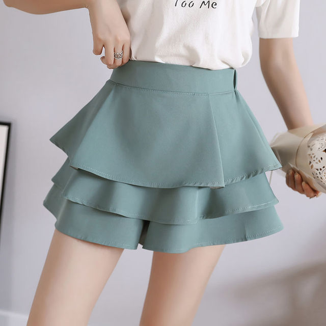 summer chiffon shorts black white green pink elasticated high waist women's Ruffles cake skirt girl lovely sweet student dance 2