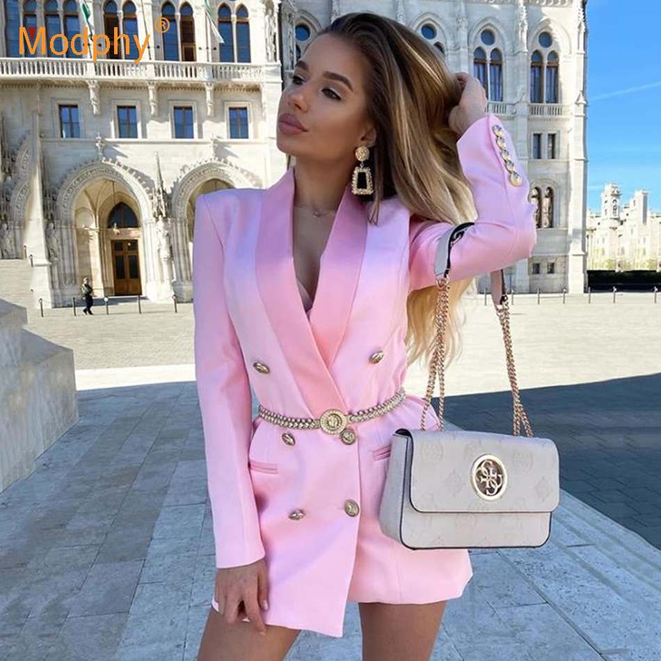 Spring Summer Ol Solid Blazer For Women Pink Sexy Long Sleeve Double-Breasted Slim Coat Top Female 2020 Fashion Clothes New