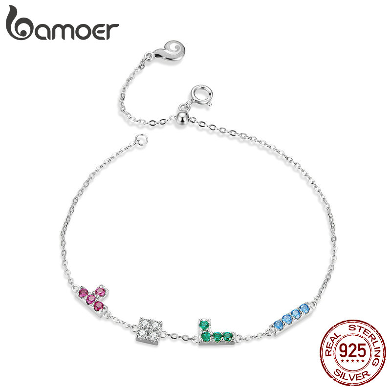 Bamoer Real 925 Sterling Silver Childhood Tetris Play Game Funny Chain Bracelet For Women Female Birthday Girl Gifts BSB040