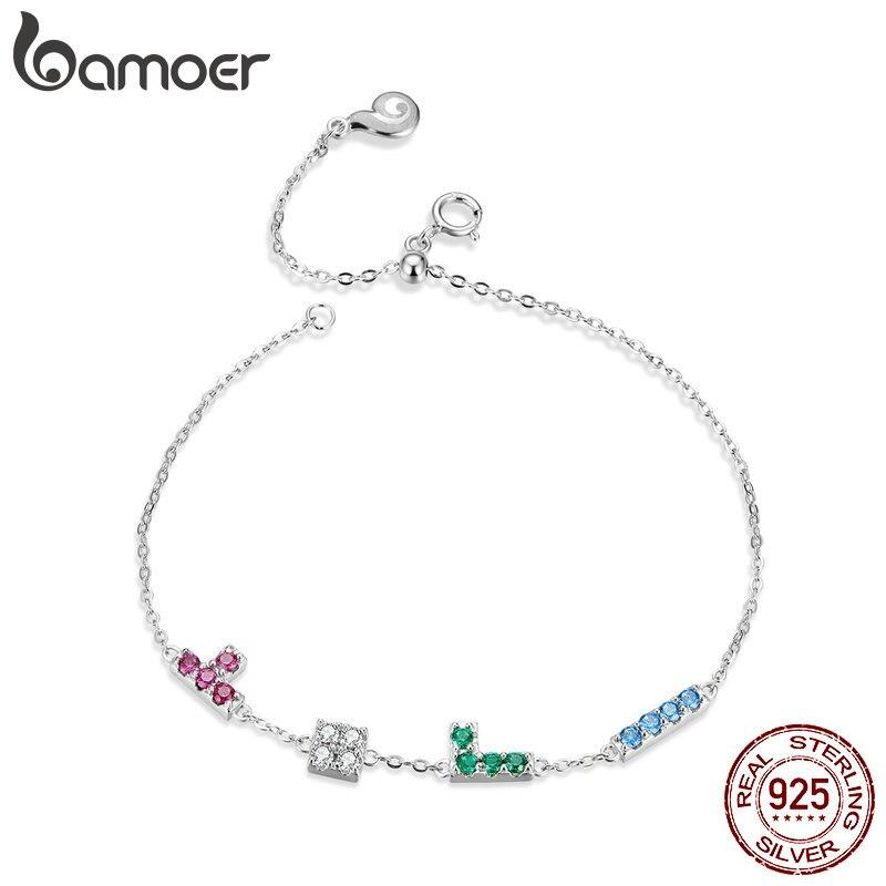 Bamoer Real 925 Sterling Silver Childhood Tetris Play Game Funny Chain Bracelet For Women Female Birthday Girl Gifts BSB040