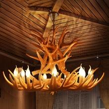 Nordic retro Antlers Chandelier American vintage LOFT Kitchen Hanging Lamp Resin resturant Bedroom Chandelier Lustre Lighting