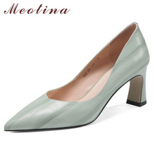 Meotina High Heels Women Pumps Natural Genuine Leather Thick High Heel Glove Shoes Real Leather Pointed Toe Office Lady Shoes 39 ladies real genuine leather high heel shoes women brand sexy pointed toe heels fashion pumps lady heeled shoes size 34 39 r08358 page 3