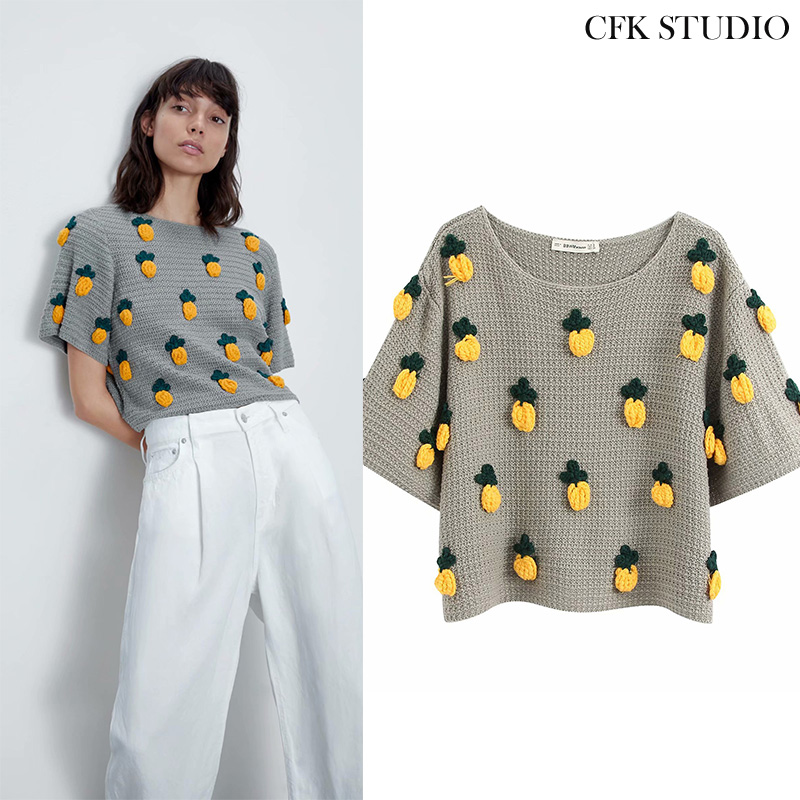 Women <font><b>Sweater</b></font> with O-neck Pineapple Cartoon Printed <font><b>3/4</b></font> Short <font><b>Sleeve</b></font> Knitted Pullovers Femme Summer Grey Oversize Casual <font><b>Sweater</b></font> image