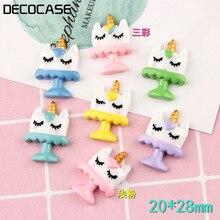DECOCASE 30pcs Unicorn Cake Slime Charms Beads Headwear Flatback Crafts Ornaments Decoration Phone Case DIY Accessories