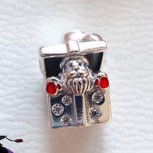 2019 Winter Santa in a Giftbox Charm 925 Sterling Silver Enamel heart Charms Beads Fit Bracelets DIY Christmas Gift Fine Jewelry(China)
