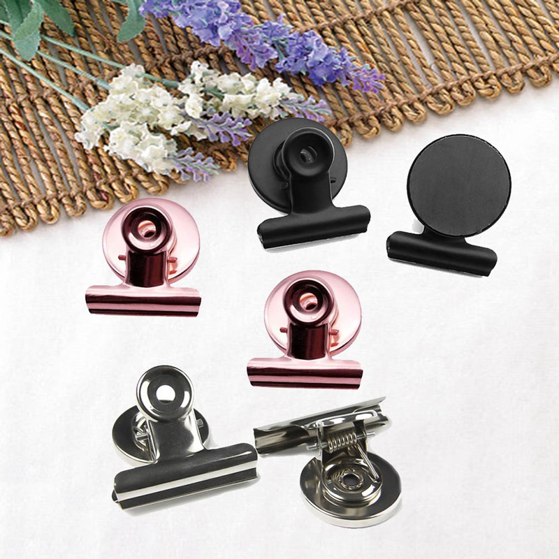 3pcs/lot 31mm/38mm/50mm Round Shape Metal Magnet Clip  Silver Black Rose Gold Color  Magnetic Memo Note Message Holder