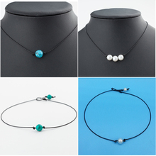 handmade cultured freshwater pearl choker necklace women genuine leather jewelry Fashion Green Blue Turquoises Pearl Charms Choker Necklace On Leather Cord For Women Handmade Choker Jewelry Gifts