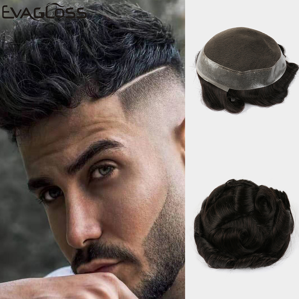EVAGLOSS Men's Wig Swiss Lace PU Around Prosthesis Male Wig Hair System Pure Handmade For Mens Toupee Free Shipping