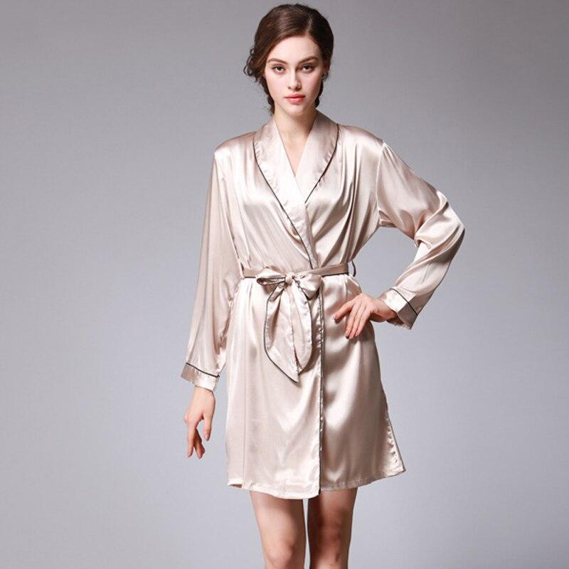 2020 Autumn Spring Women's Short Nightgown Silk Slim Female Bathrobe V Neck Long Sleeve Solid Sleepwear Ladies Nightdress