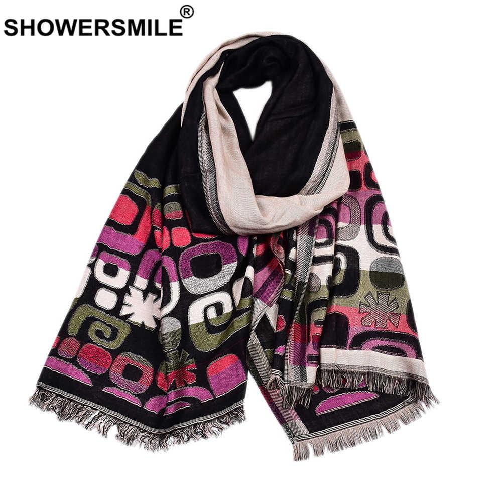 SHOWERSMILE 男性スカーフ綿英国スタイル男性のための幾何学プリントロング男性の冬のスカーフ 195 センチメートル * 65 センチメートル