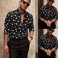 Рубашка мужская деловая с длинным рукавом, модная Свободная Повседневная блуза с принтом в горошек, уличная блузка, Топ