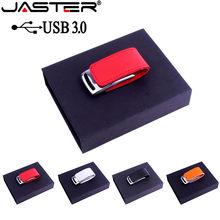 JASTER USB 3.0 özel LOGO metal deri usb hediye kutusu usb flash sürücü pendrive 4GB 8GB 16GB 32GB GB 64GB memory stick U disk