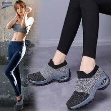 Damyuan плоские туфли женщин вязание платформы мокасины Zapatos де mujer нескользящей дышащий тенис Feminino в мягкий носок кроссовки Женские