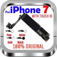 32gb / 128gb / 256gb iphone 7 마더 보드 용/지문 없음, iphone 7 로직 보드 용 100% 오리지널 잠금 해제