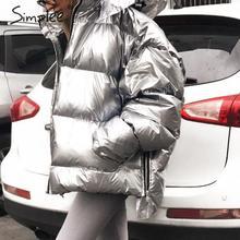 Simplee di Modo più il formato delle donne di inverno parka Con Cappuccio tasche con cerniera femminile cappotto imbottito di Spessore di grandi dimensioni signore caldo giù giacche