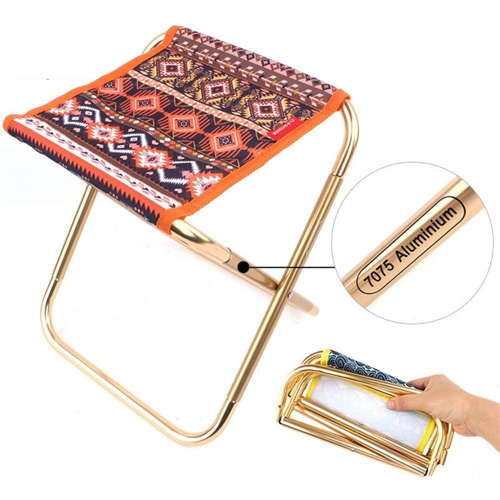 Ethnic Style Folding Chair Stool Portable Metal Beach Camping Seat Fishing Stool Outdoor Hiking Picnic Beach Travel Chairs