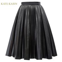 Kate Kasin Women Casual Black Faux Leather Skirt K