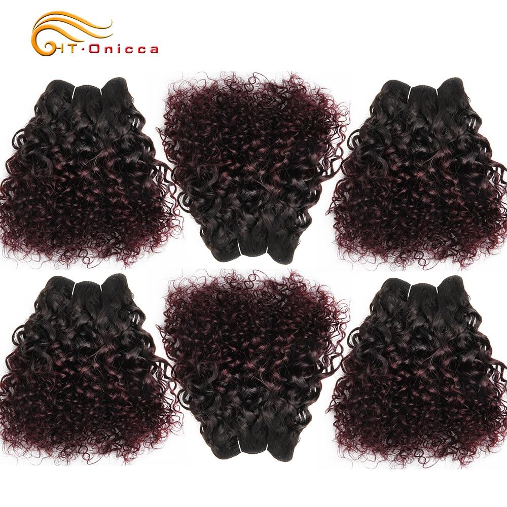 6Pcs/Lot  Curly Bundles Jerry Curl Double Drawn   Funmi Hair T1B 30 99J Colored Hair  Htonicca 1