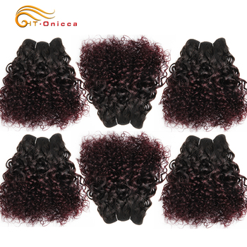 6Pcs/Lot Peruvian Curly Bundles Jerry Curl Double Drawn Human Hair Remy Funmi Hair T1B 30 99J Colored Hair Extension Htonicca 1
