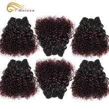 Htonicca-extensions de cheveux colorés T1B 30 99J, cheveux humains péruviens