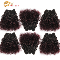 6Pcs/Lot Peruvian Curly Bundles Jerry Curl Double Drawn Human Hair Remy Funmi Hair T1B 30 99J Colored Hair Extension Htonicca