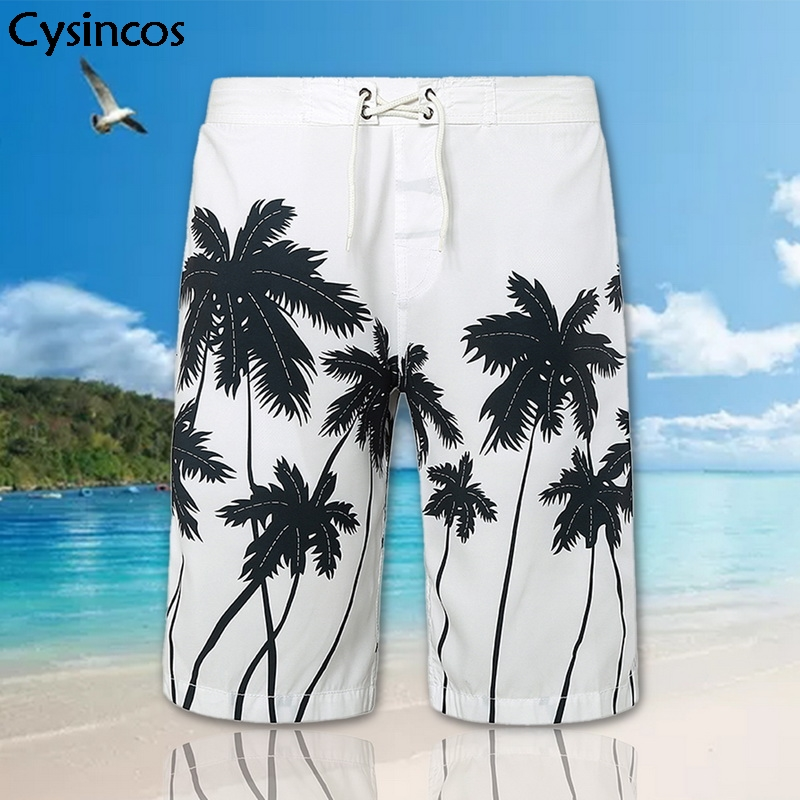 Cysincos Summer Men Board Shorts Fashionable Swimming Hawaiian Beach Shorts Plus Size Casual Drawstring Shorts Masculino Praia