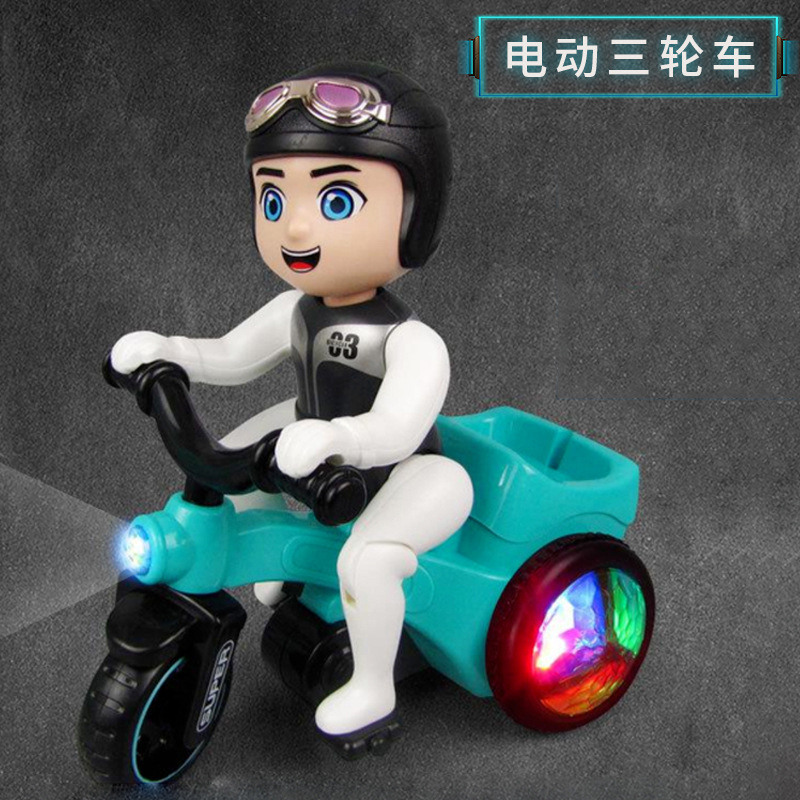 Douyin Celebrity Style Children Electric Stunt Tricycle Online Celebrity Toy Music Light Cool Rotating Dump Truck