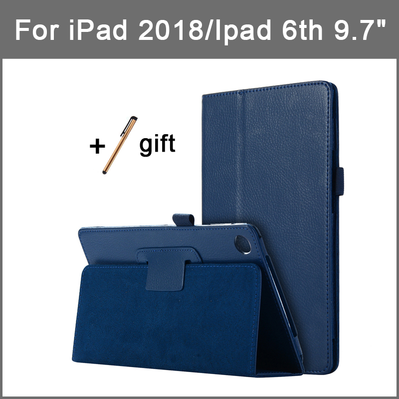 """PU Leather Case For ipad 2018 9.7 inch Lichi Style Stand Flip Cover For iPad 6th generation Tablet holder 9.7"""" Protective Shell"""
