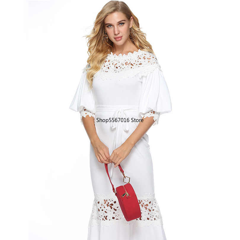 Elegant Long Dress Women White Lace Slash Neck Mermaid Dresses Sexy Hollow Lace-Up Bodycon Party Maxi Dresses Vestidos