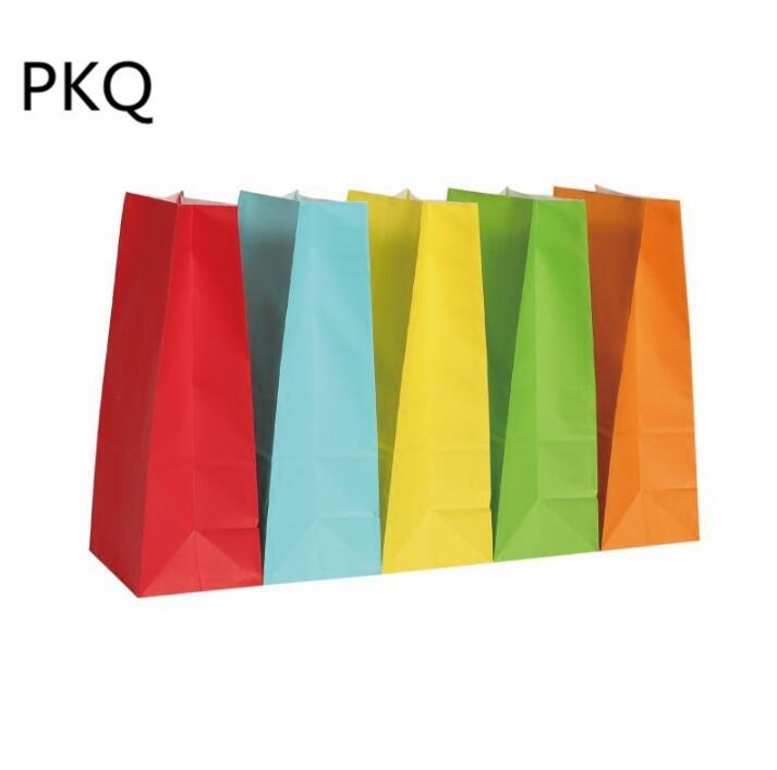 50pcs 13*8*24cm Kraft papier emballage cadeau pochette de qualité alimentaire emballage papier sac pour fête mariage faveur Biscuit sac