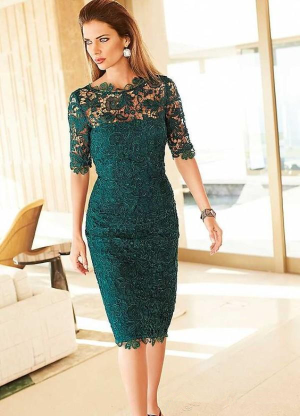 Green Mother Of The Bride Dresses Sheath Half Sleeves Lace Knee Length Plus Size Short Groom Mother Dresses For Wedding