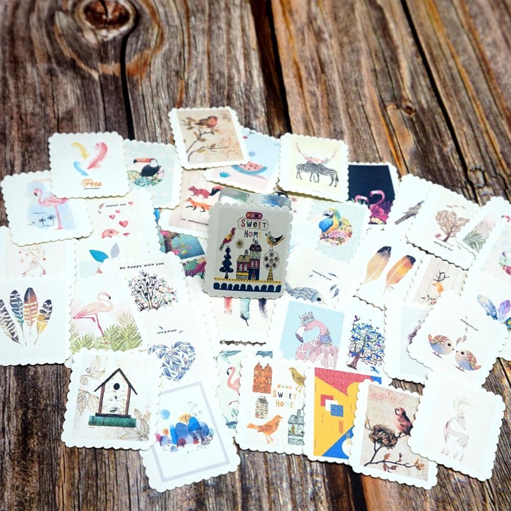 42PCS Cartoon Animal Sticker DIY Cute Flamingo Bird Gift Sticker For Kids Photo Ablum Decorations Scrapbooking Diary Classic Toy