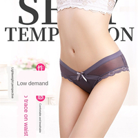 Sexy Transparent Net Yarn Panties Fashion Women V Type Low Rise Silky Intimates Underwear High Quality Seamless Lace Briefs